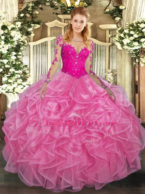 Rose Pink Long Sleeves Lace and Ruffles Floor Length Sweet 16 Dresses