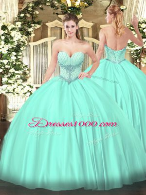 Beautiful Apple Green Satin Lace Up Sweetheart Sleeveless Floor Length Quinceanera Dress Beading