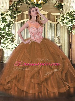 Exquisite Brown Sleeveless Floor Length Beading and Ruffles Lace Up Quinceanera Gown