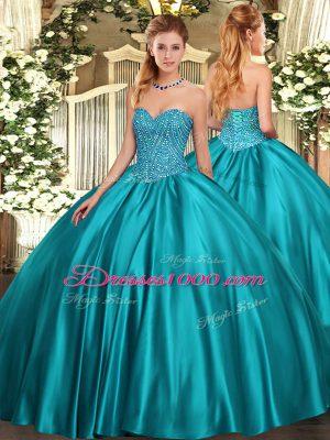 Floor Length Teal Sweet 16 Dresses Sweetheart Sleeveless Lace Up