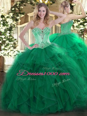 New Style Sleeveless Floor Length Beading and Ruffles Lace Up Ball Gown Prom Dress with Dark Green