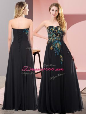 Elegant Floor Length Lace Up Evening Dress Black for Prom and Party with Embroidery