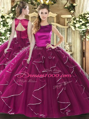 Fuchsia Sleeveless Ruffles Floor Length Ball Gown Prom Dress