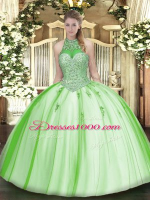 Noble Sleeveless Lace Up Floor Length Beading and Appliques 15th Birthday Dress