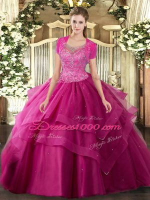 Sleeveless Tulle Floor Length Clasp Handle Sweet 16 Dresses in Hot Pink with Beading and Ruffles