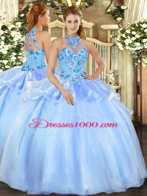 Custom Made Baby Blue Lace Up Sweet 16 Quinceanera Dress Embroidery Sleeveless Floor Length