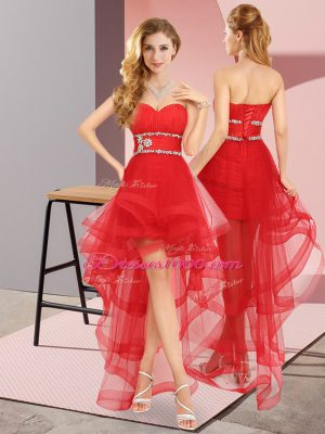 Wonderful A-line Prom Gown Red Sweetheart Tulle Sleeveless High Low Lace Up