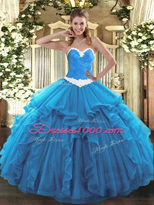 Baby Blue Organza Lace Up Quince Ball Gowns Sleeveless Floor Length Appliques and Ruffles