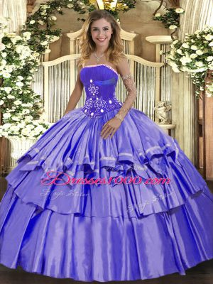Dramatic Strapless Sleeveless Quinceanera Gown Floor Length Beading and Ruffled Layers Lavender Organza and Taffeta