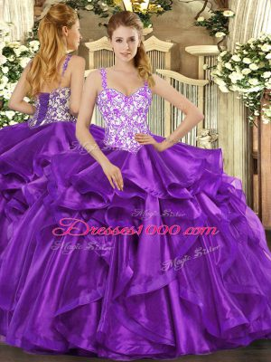 Ball Gowns Quinceanera Gowns Eggplant Purple Straps Organza Sleeveless Floor Length Lace Up