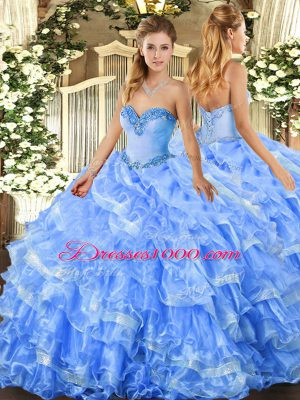 Modest Baby Blue Lace Up Sweetheart Beading and Ruffled Layers 15th Birthday Dress Organza Sleeveless