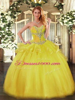 Floor Length Gold Quinceanera Gown Tulle Sleeveless Beading