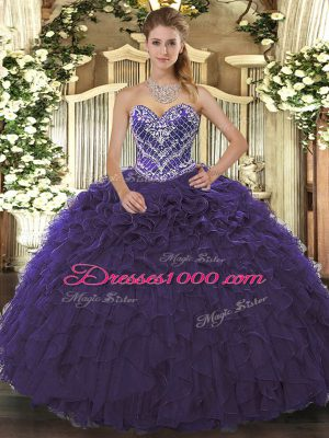 Wonderful Purple Sleeveless Beading and Ruffled Layers Floor Length Vestidos de Quinceanera