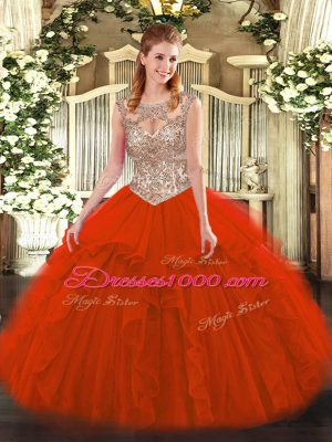 Noble Red Lace Up Scoop Beading and Ruffles Quinceanera Dresses Tulle Sleeveless