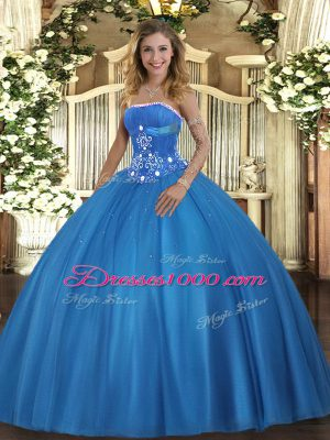 Tulle Strapless Sleeveless Lace Up Beading Sweet 16 Dresses in Baby Blue