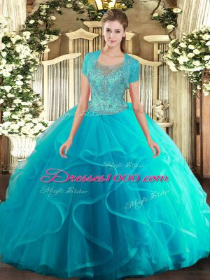Dynamic Aqua Blue Sleeveless Floor Length Beading and Ruffled Layers Clasp Handle 15 Quinceanera Dress