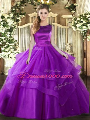 Sleeveless Ruffled Layers Lace Up 15 Quinceanera Dress