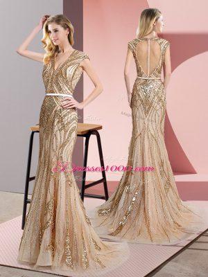 Champagne Sleeveless Floor Length Beading and Belt Zipper Teens Party Dress