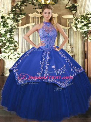 Stylish Halter Top Sleeveless Tulle Sweet 16 Dresses Beading and Embroidery Lace Up