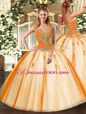 Modest Sleeveless Floor Length Beading Lace Up 15 Quinceanera Dress with Gold