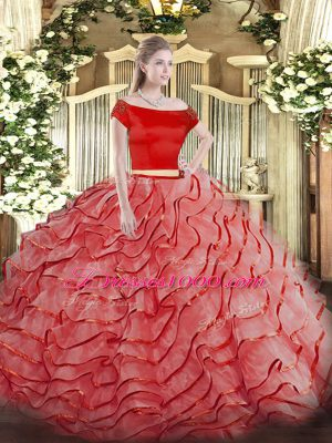 Edgy Coral Red Short Sleeves Brush Train Ruffled Layers Quince Ball Gowns