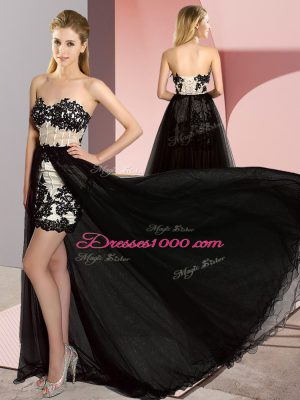 White And Black Sweetheart Lace Up Embroidery Prom Gown Sleeveless