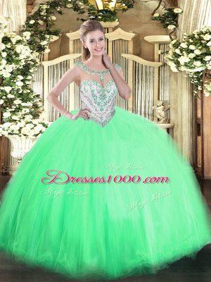 Apple Green Scoop Neckline Beading 15th Birthday Dress Sleeveless Zipper