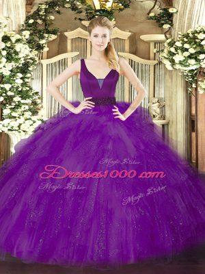 Smart Sleeveless Floor Length Beading and Ruffles Zipper 15 Quinceanera Dress with Purple