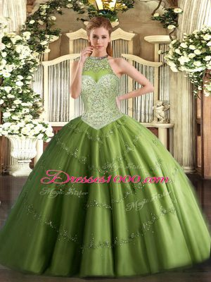 Fabulous Floor Length Olive Green Quinceanera Dress Tulle Sleeveless Beading and Appliques