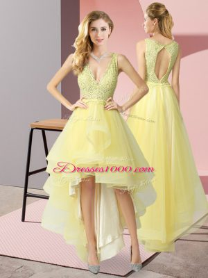 Sumptuous Tulle Sleeveless High Low Prom Gown and Beading