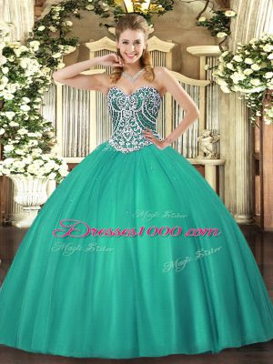 Custom Fit Turquoise Sleeveless Tulle Lace Up 15th Birthday Dress for Military Ball and Sweet 16 and Quinceanera