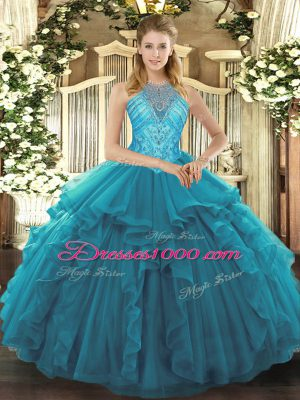 New Arrival Asymmetrical Lace Up Sweet 16 Dresses Teal for Military Ball and Sweet 16 and Quinceanera with Beading and Ruffles