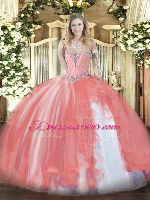 Top Selling Coral Red Tulle Lace Up Sweetheart Sleeveless Floor Length Quince Ball Gowns Beading and Ruffles