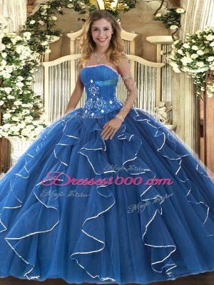 Floor Length Blue Ball Gown Prom Dress Tulle Sleeveless Beading and Ruffles
