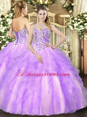 Lavender Sweetheart Neckline Beading and Ruffles 15th Birthday Dress Sleeveless Lace Up