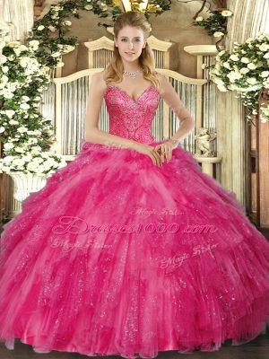 Hot Pink V-neck Lace Up Beading and Ruffles Sweet 16 Dress Sleeveless