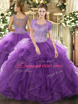 Simple Lavender Ball Gowns Beading and Ruffled Layers Sweet 16 Dresses Clasp Handle Tulle Sleeveless Floor Length