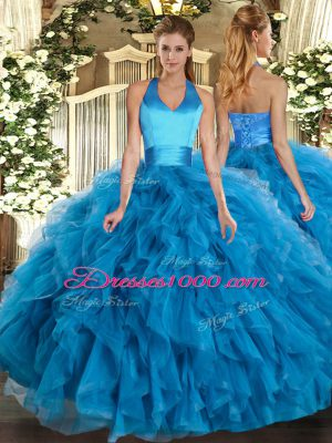 Elegant Halter Top Sleeveless Organza Sweet 16 Quinceanera Dress Ruffles Lace Up