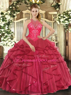 Exceptional Coral Red Organza Lace Up High-neck Sleeveless Floor Length Quince Ball Gowns Beading and Ruffles