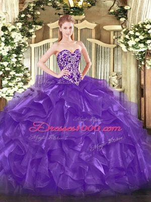 Enchanting Purple Sweet 16 Quinceanera Dress Military Ball and Sweet 16 and Quinceanera with Beading and Ruffles Sweetheart Sleeveless Lace Up
