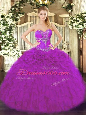 Fancy Fuchsia Organza Lace Up Sweetheart Sleeveless Floor Length Quince Ball Gowns Beading and Ruffles