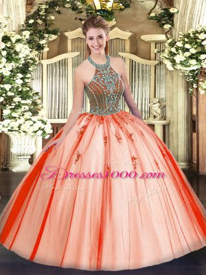 Coral Red Sweet 16 Dress Military Ball and Sweet 16 and Quinceanera with Beading Halter Top Sleeveless Lace Up