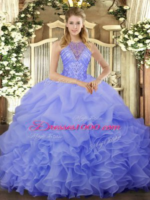 Blue Organza Lace Up Halter Top Sleeveless Floor Length Quinceanera Gown Beading and Ruffles and Pick Ups