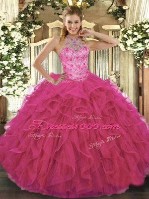 Hot Pink Sleeveless Floor Length Beading and Embroidery Lace Up Vestidos de Quinceanera
