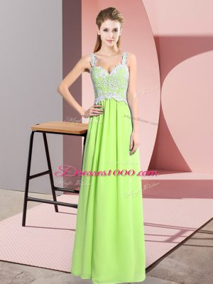 Best Selling Sleeveless Floor Length Lace Zipper Custom Made with Yellow Green