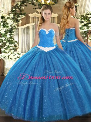 Dazzling Sleeveless Tulle Floor Length Lace Up Quinceanera Gown in Blue with Appliques