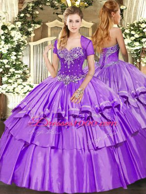 Exquisite Lavender Sleeveless Organza and Taffeta Lace Up Quinceanera Dresses for Military Ball and Sweet 16 and Quinceanera
