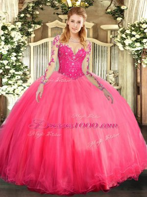 Long Sleeves Lace Lace Up Sweet 16 Quinceanera Dress