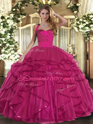 Designer Sleeveless Tulle Floor Length Lace Up Vestidos de Quinceanera in Fuchsia with Ruffles