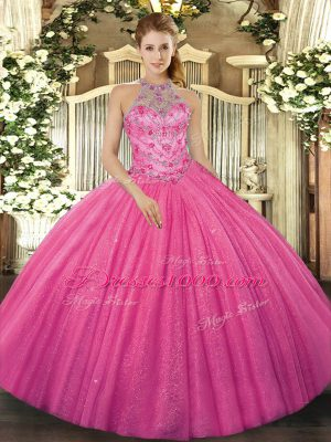 Hot Pink Tulle Lace Up 15 Quinceanera Dress Sleeveless Floor Length Beading and Embroidery